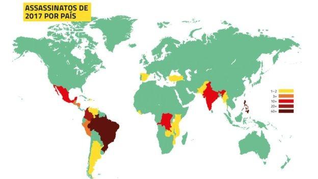 Mapa elaborado pela Global Witness mostra as regiões com mais mortes de ativistas no mundo; Brasil é o destaque - quanto mais vermelha a cor, maior o número de casos / Imagem: Global Witness (Foto: via BBC)