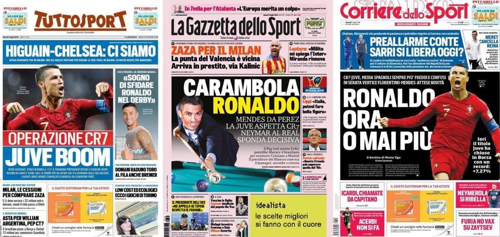 Jornais italianos destacam possivel ida de Cristiano Ronaldo para Juventus (Foto: Reprodução)