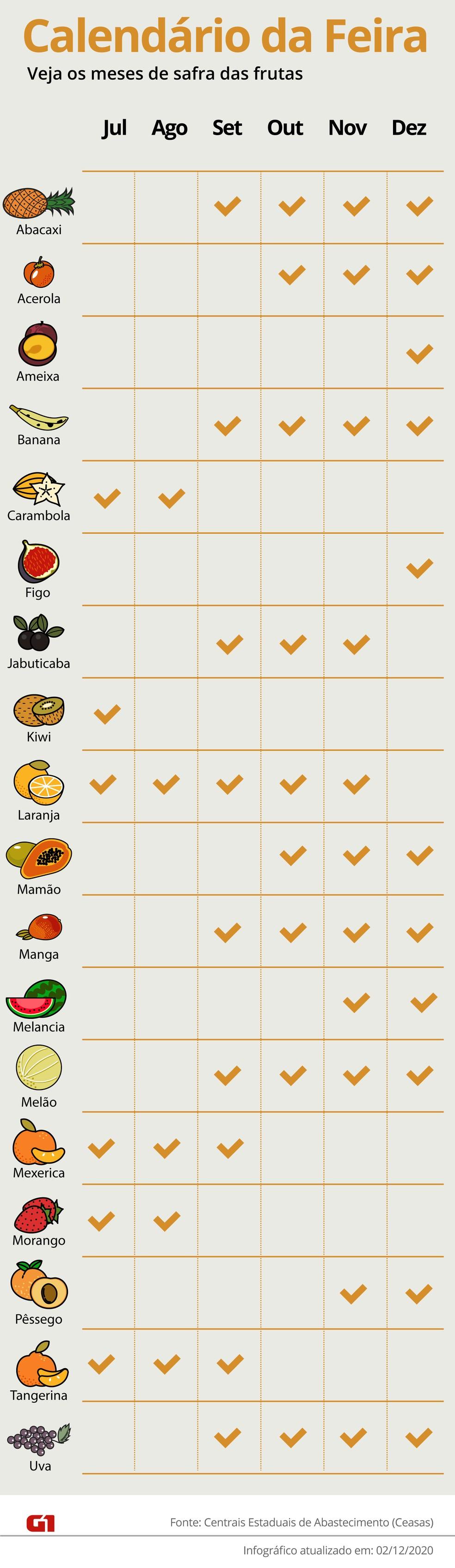 Calendário de frutas de julho a dezembro — Foto: Arte/G1