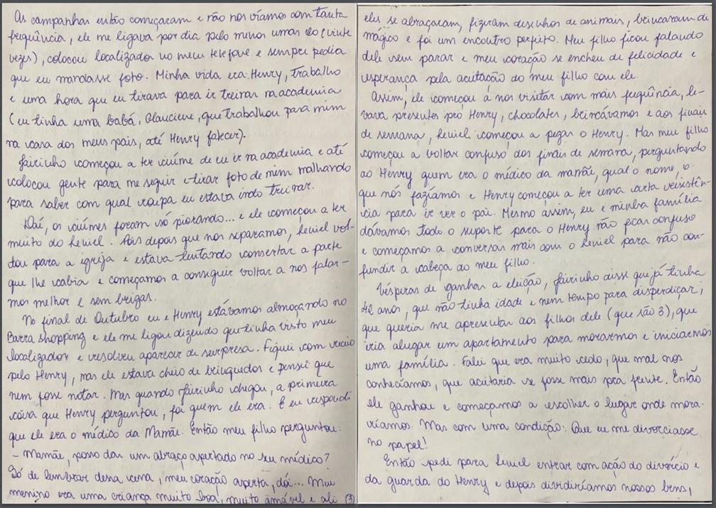Caso Henry Borel: carta de Monique Medeiros (parte 3) — Foto: Reprodução