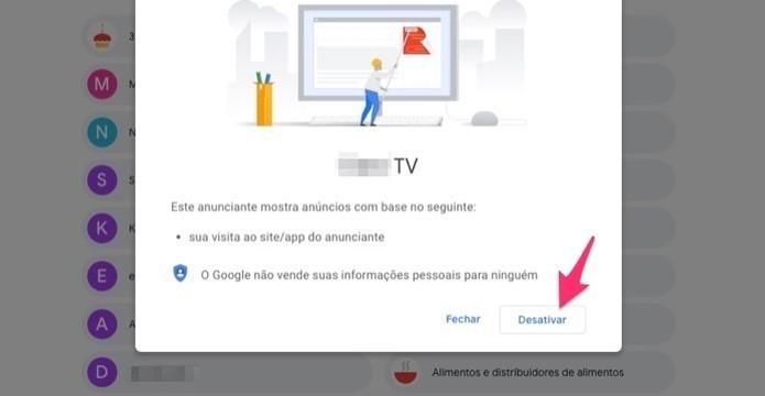 Ação para desativar um termo utilizado para oferecer anúncios em uma conta do Google (Foto: Reprodução/Marvin Costa)