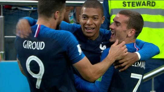 Pogba rouba a bola de Guerrero, e Mbappé abre o placar para a França