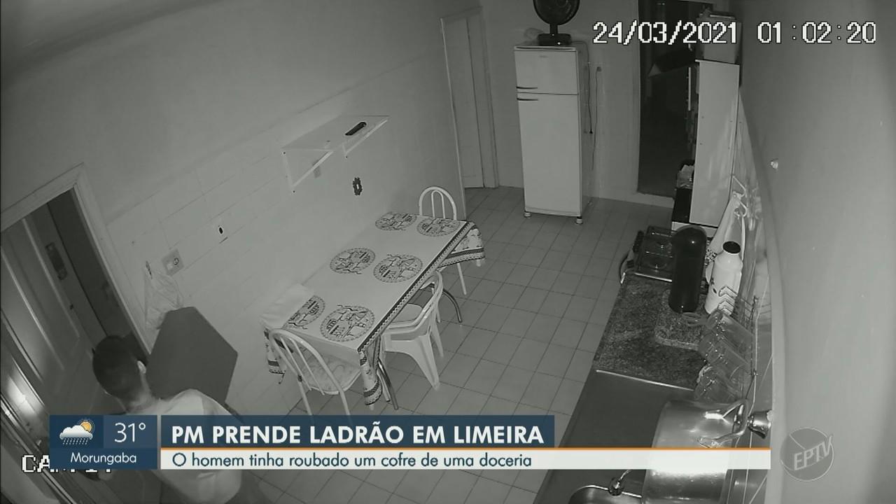 Homem é preso após roubar cofre de doceria em Limeira