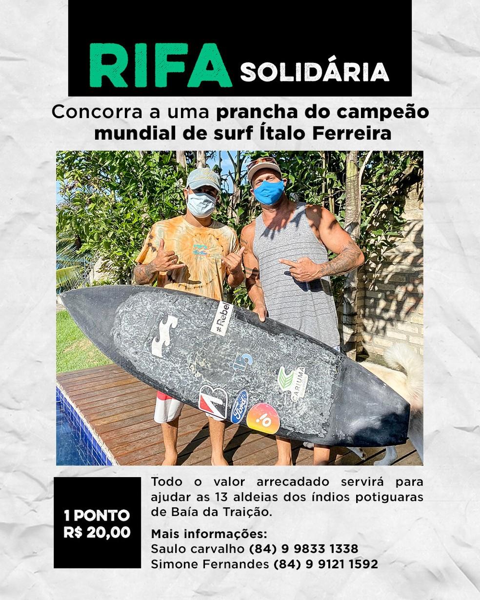 Rifa solidária na Paraíba está leiloando uma prancha utilizada pelo campeão mundial de surfe Ítalo Ferreira — Foto: Divulgação / Saulo Carvalho