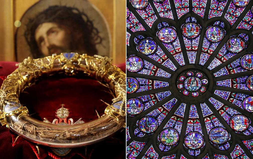 Montagem com a 'Santa Coroa' e um dos famosos vitrais da Catedral de Notre-Dame, em Paris — Foto: Philippe Wojazer/Reuters/Arquivo; Patrick Kovarik/AFP
