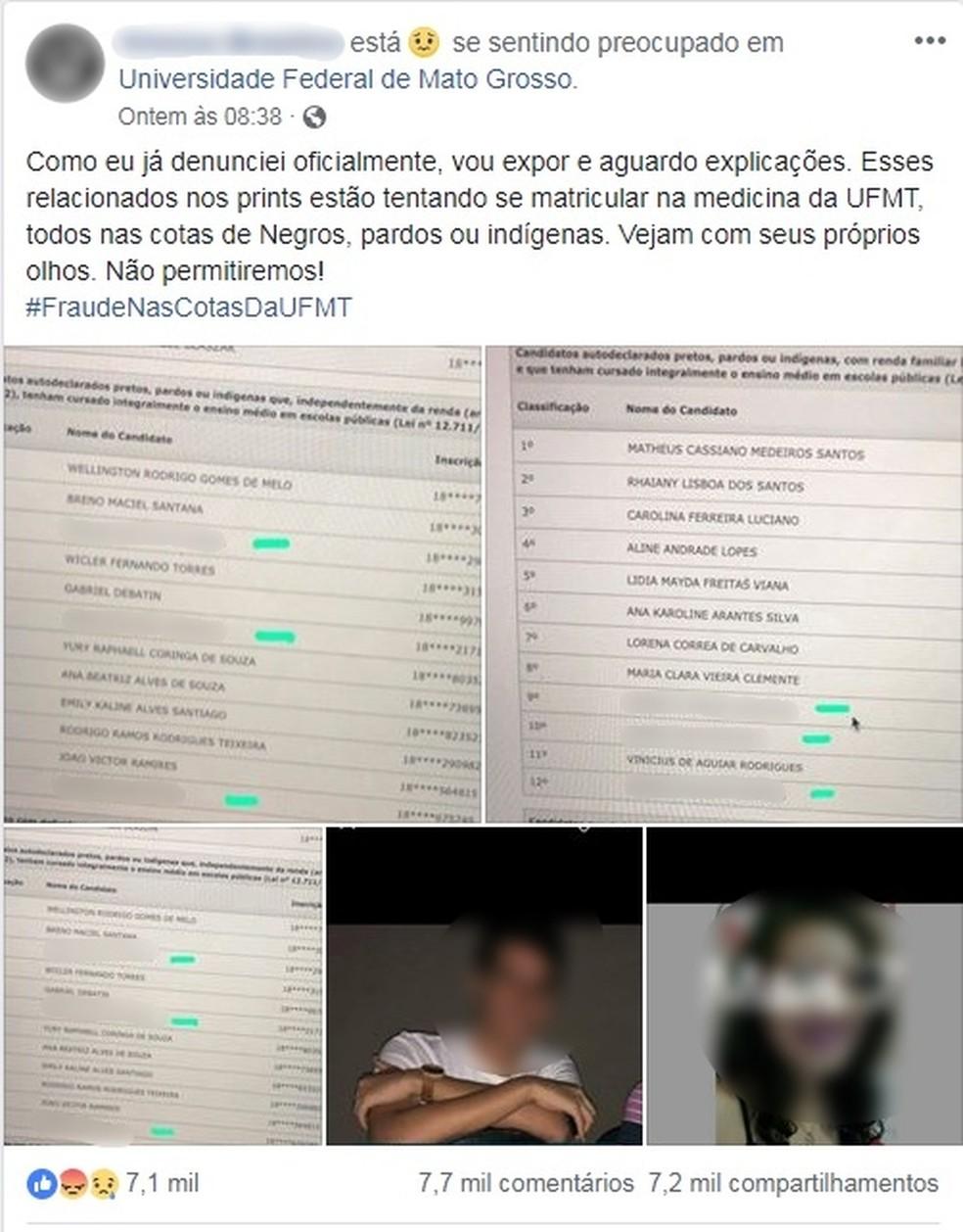 Internauta fez post na internet denunciado supostas fraudes — Foto: Facebook/Reprodução