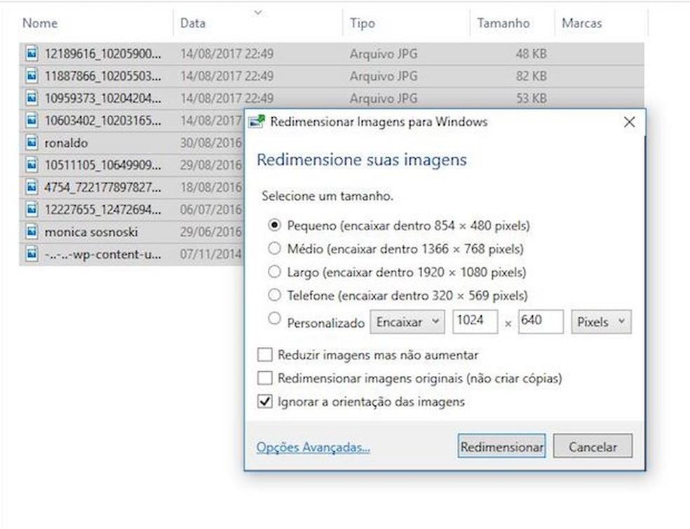 Programa permite redimensionar imagens em massa — Foto: Reprodução/G1