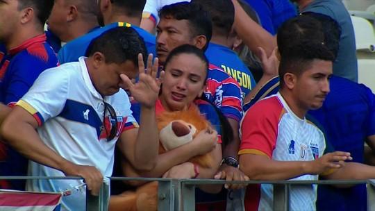 Jogo entre Fortaleza e Palmeiras tem confusão na arquibancada; veja o vídeo