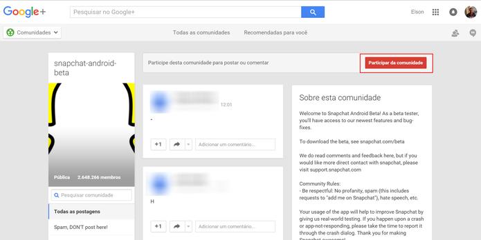 Snapchat Beta pode ser baixado após usuário entrar na comunidade do Google+ (Foto: Reprodução/Elson de Souza) (Foto: Snapchat Beta pode ser baixado após usuário entrar na comunidade do Google+ (Foto: Reprodução/Elson de Souza))