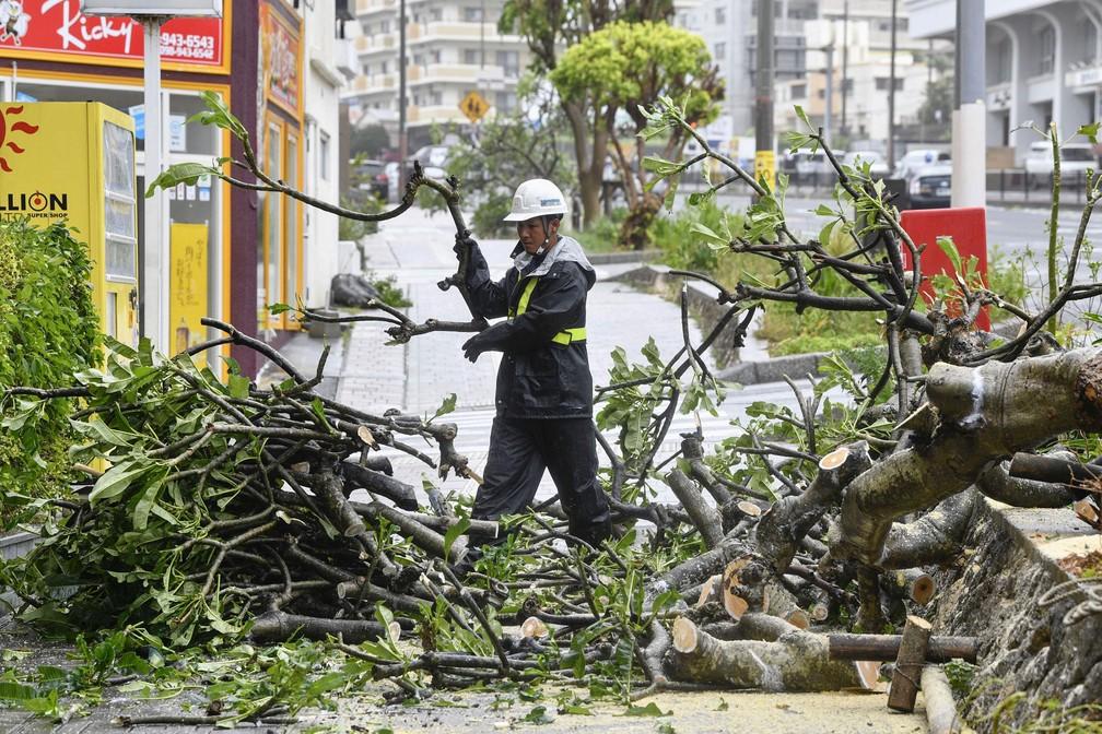 Homem retira galhos de árvore que caiu durante passagem do tufão Trami em Naha, na ilha de Okinawa, neste sábado (29)  — Foto: Kyodo via Reuters