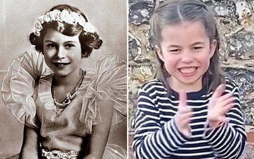 A internet está chocada com a semelhança entre a Princesa Charlotte e a Rainha Elizabeth criança