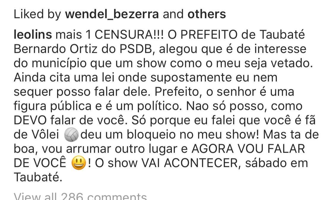 Prefeitura barra show de humor em Taubaté: 'ofensa à nossa gente'; comediante acusa censura - Notícias - Plantão Diário