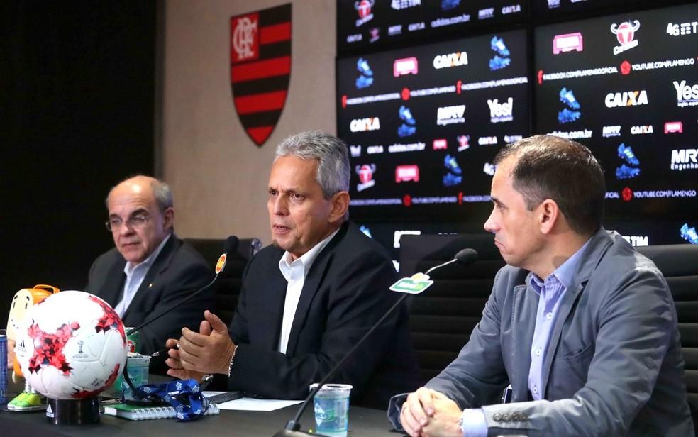 Presidente e diretor de futebol falaram sobre saída de Rueda (Foto: Gilvan de Souza/Flamengo)