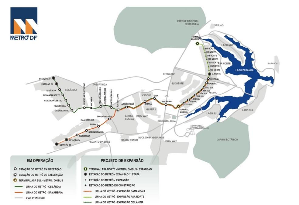 Mapa com as estações do Metrô-DF  — Foto: Reprodução/Metrô-DF