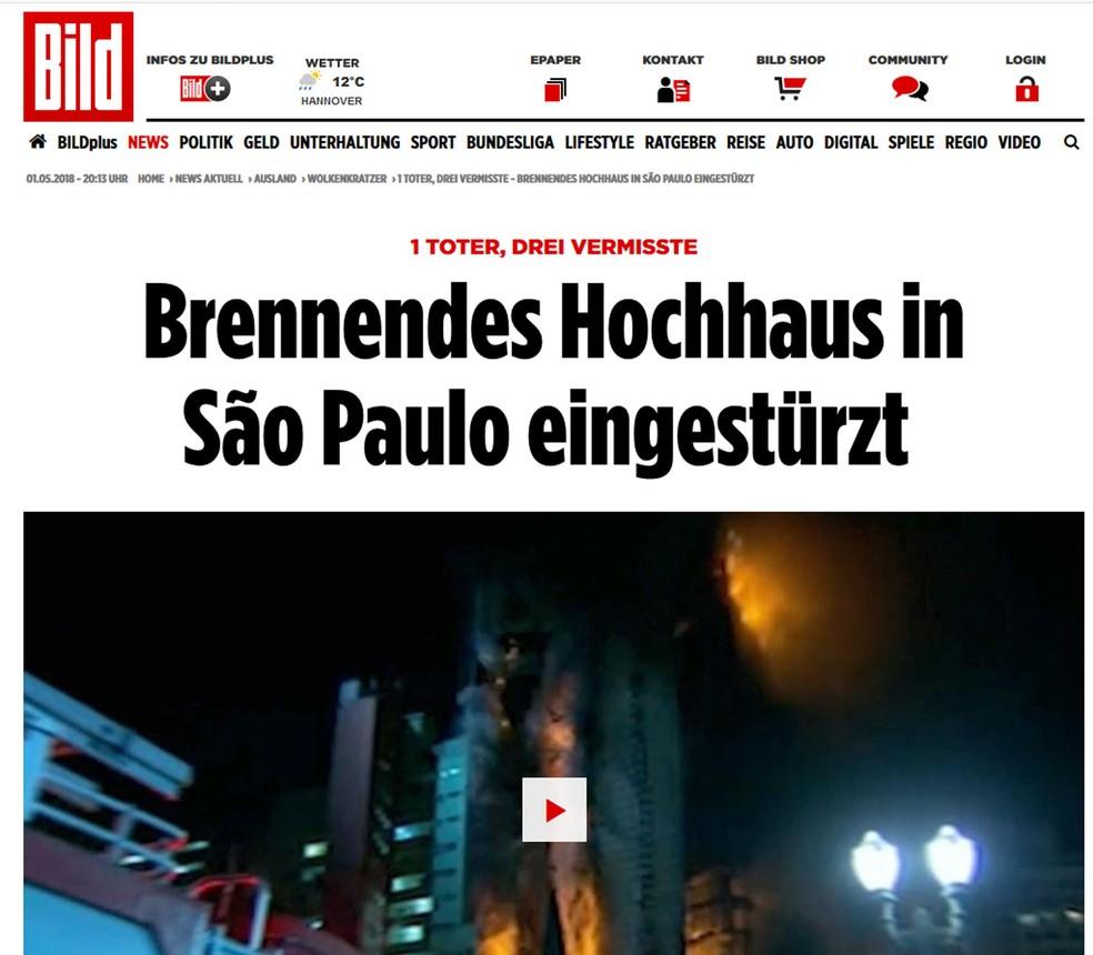 Jornal alemão 'Bild' noticia queda de prédio em São Paulo (Foto: Bild/Reprodução)