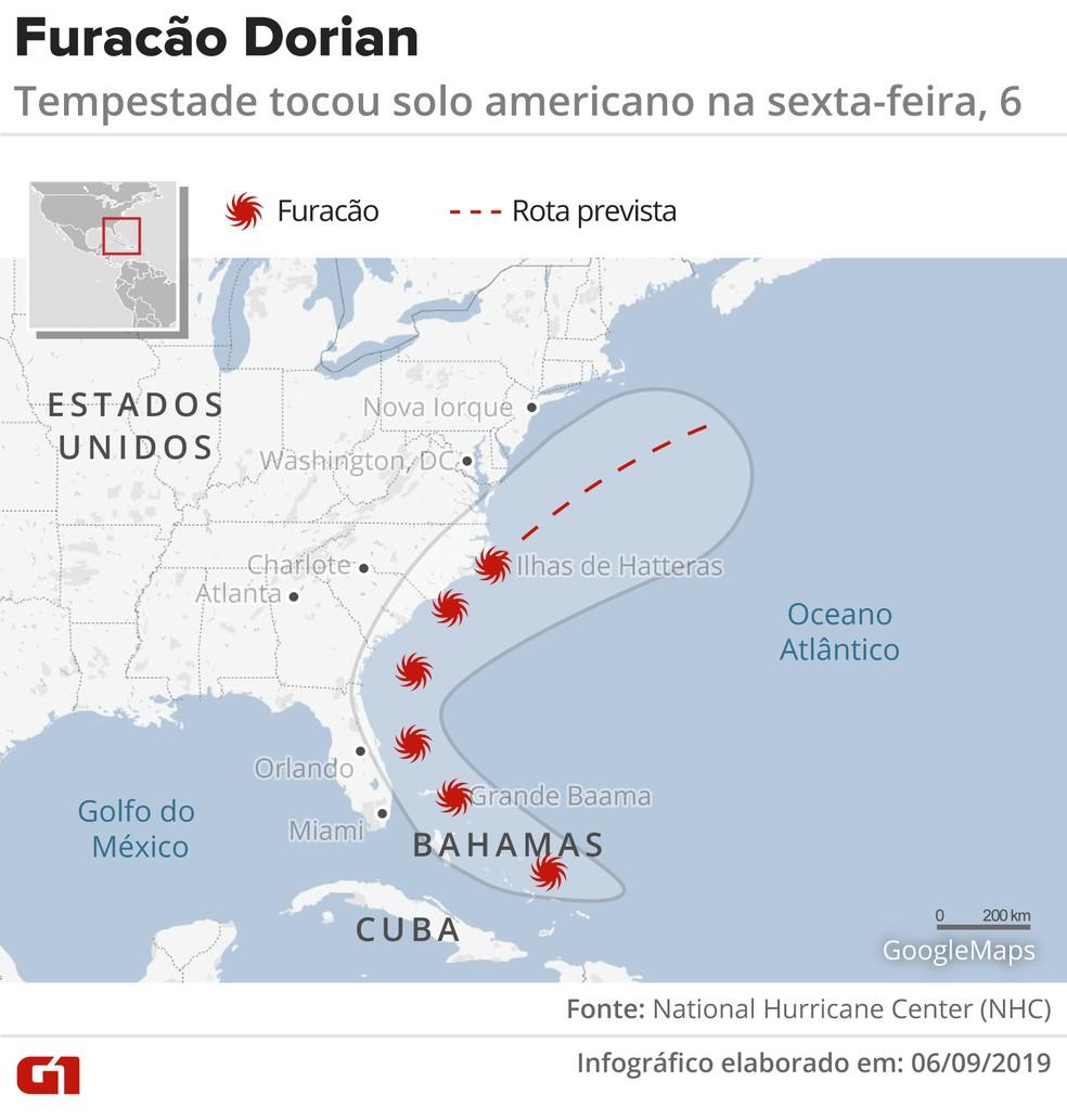 Furacão Dorian tocou o solo americano nesta sexta-feira (6). — Foto: Juliane Monteiro/G1