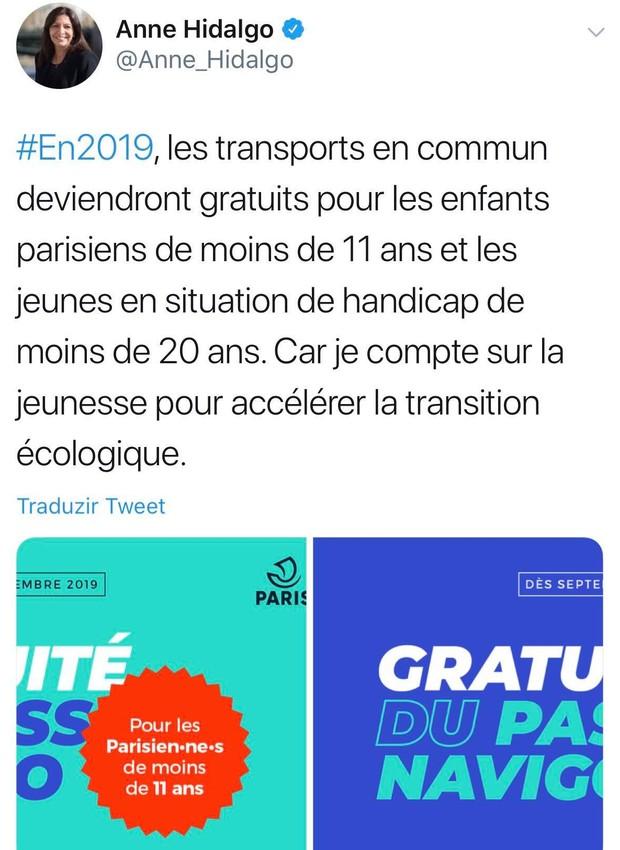 Tweet da prefeita  de Paris Anne Hidalgo sobre o transporte público na capital da França (Foto: Twitter / anne_hidalgo)