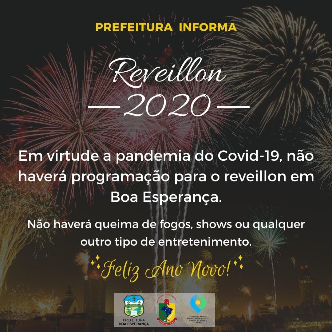 Prefeitura de Boa Esperança anuncia cancelamento da festa de réveillon devido à Covid-19