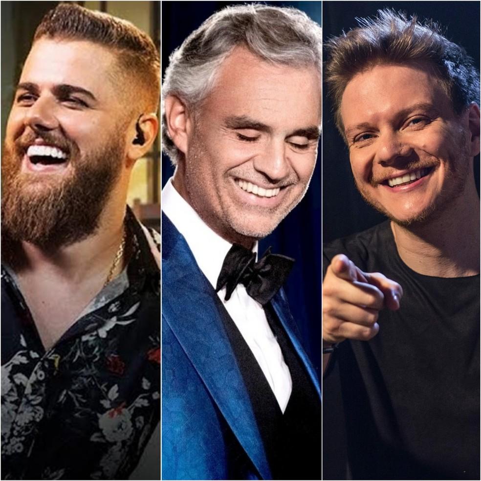 Zé Neto e Cristiano, Andrea Bocelli e Michel Teló fazem lives neste domingo (12) — Foto: Divulgação