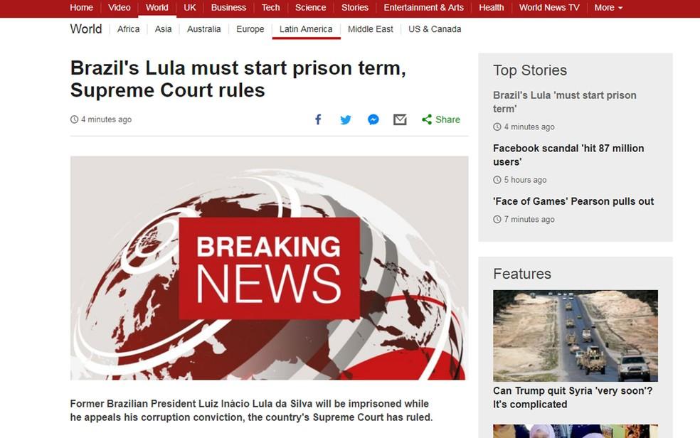 Site da BBC em inglês diz que Lula deverá ser preso (Foto: Reprodução/BBC)