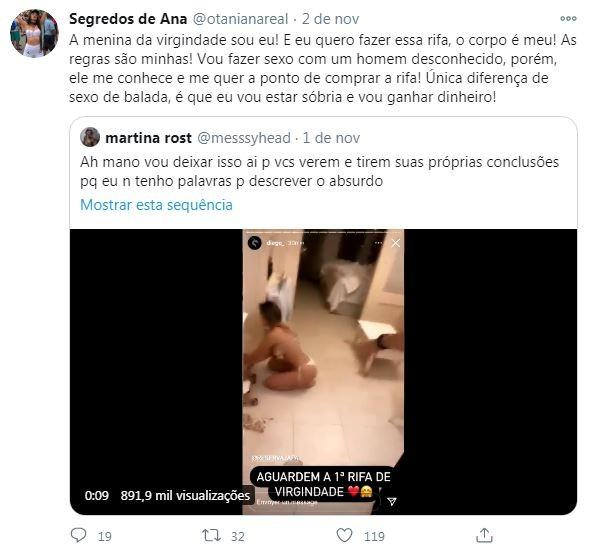 Ana Otani rebate crítics no Twitter sobre sua reconstrução de hímen (Foto: Reprodução / Twitter)