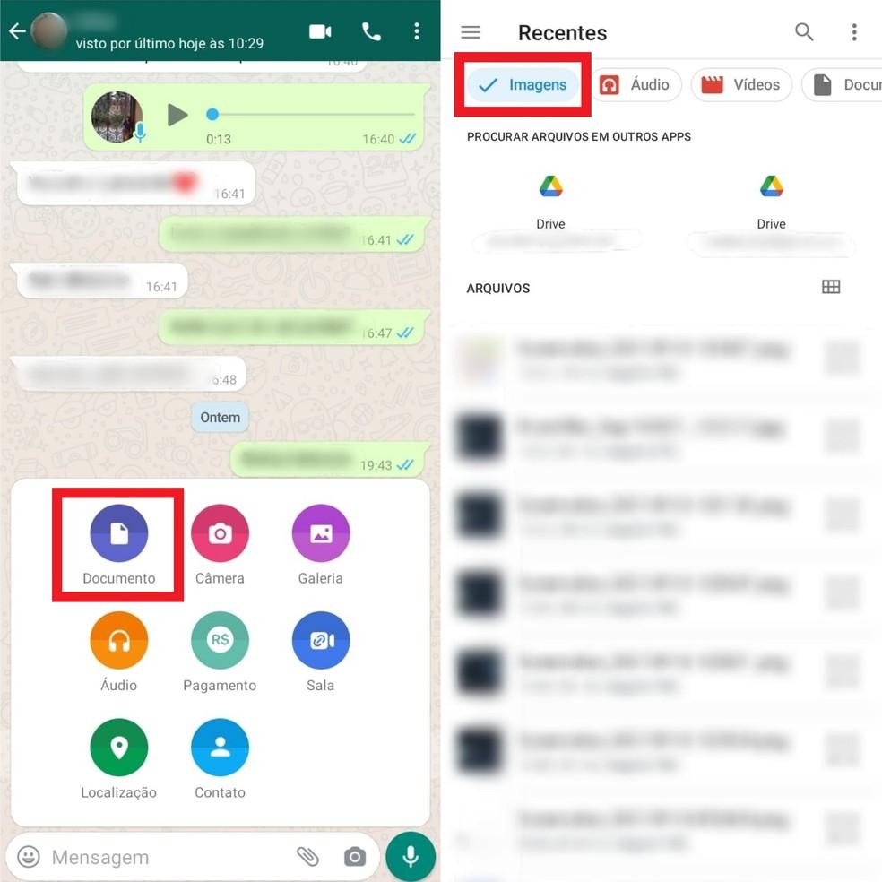 Uma opção para evitar a compressão automática do WhatsApp é enviar a foto como documento em anexo — Foto: Reprodução/Clara Fabro