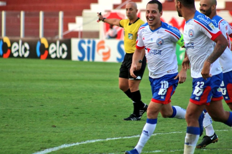 Rodriguinho marcou o gol da vitória sobre o Vila — Foto: Divulgação EC Bahia
