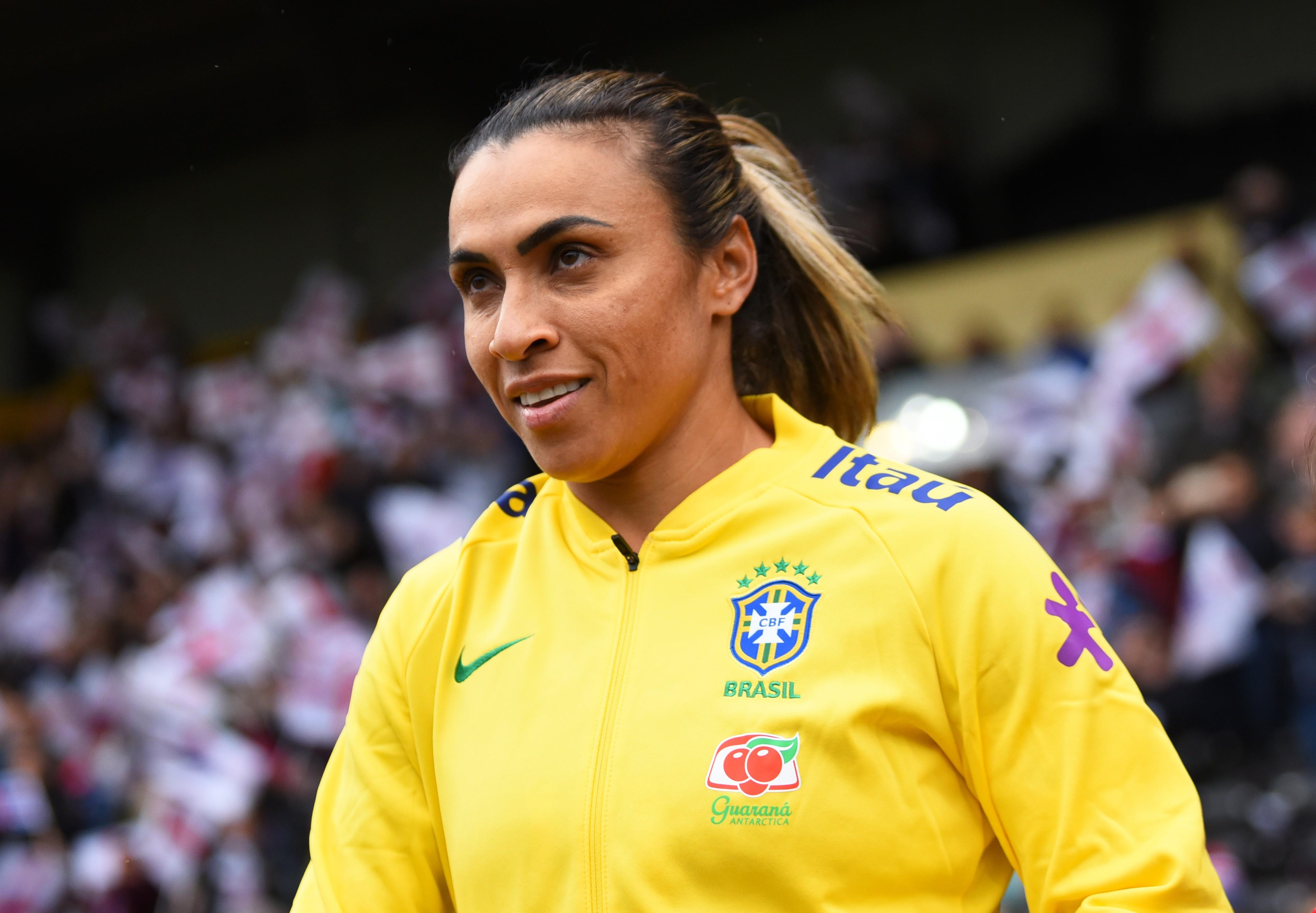 Marta, pela seleção brasileira, em amistoso contra a Inglaterra em outubro de 2018 (Foto: Foto: Getty Images)