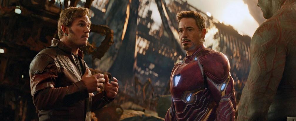 Chris Pratt, Robert Downey Jr. e Dave Bautista em cena de 'Vingadores: Guerra Infinita' (Foto: Reprodução/Marvel Entertainment)