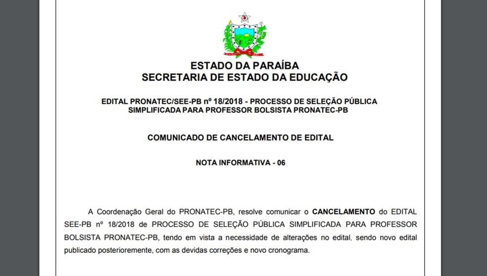 Cancelados editais de seleção de professores do Pronatec na ParaÃba. ( 51e575a7fcbc6