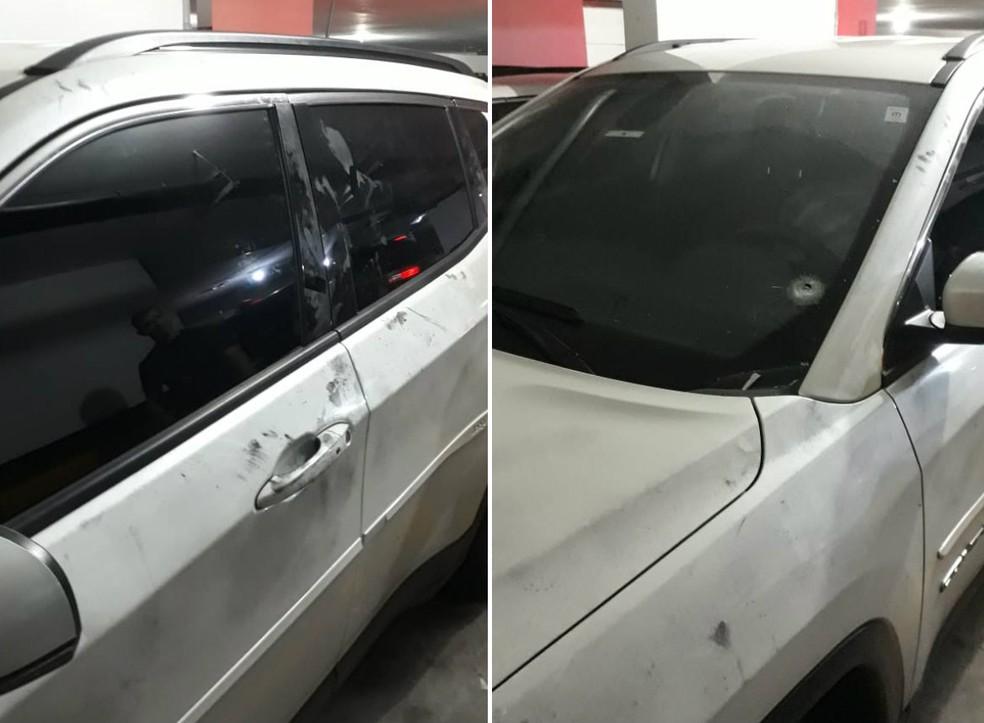Marcas de tiro no carro do médico Roberto Kikawa — Foto: Divulgação