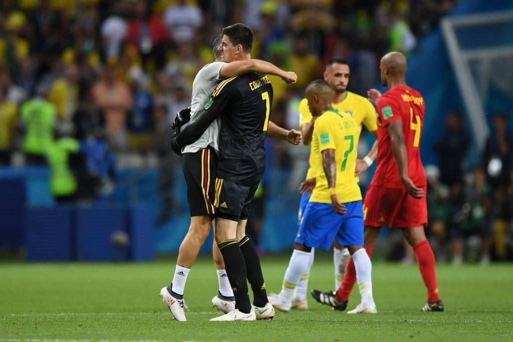Seleção belga comemora vitória contra o Brasil na Copa do Mundo 2018 (Foto: Getty Images)