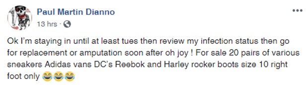 O post de Paul Di'Anno no Facebook (Foto: Reprodução Facebook)