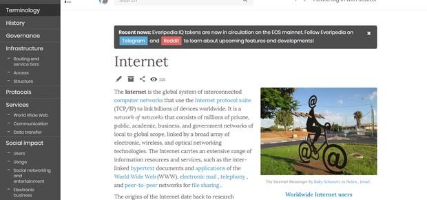 Artigo sobre a internet na Everipedia, que tem versão de testes funcionando em blockchain (Foto: Reprodução)