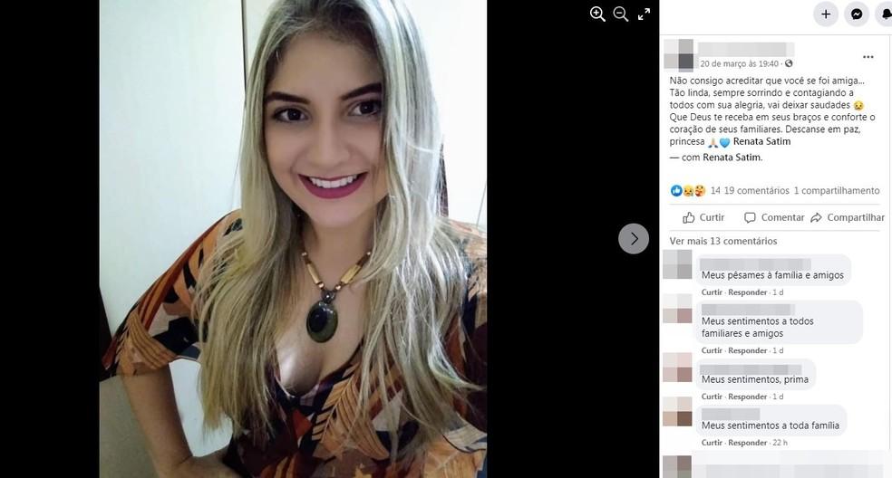 Renata Satim morreu após diagnóstico da Covid-19, em Jales (SP) — Foto: Reprodução/Facebook