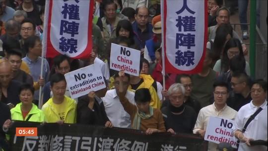 Manifestantes protestam contra mudanças propostas na lei de extradição da China