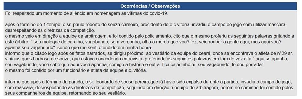 Árbitro relata invasão de campo e ameaças do presidente do Vitória, Paulo Carneiro — Foto: Reprodução