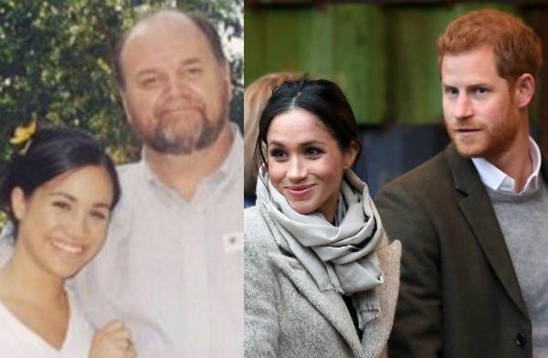 A atriz e duquesa Meghan Markle em uma foto antiga com o pai, Thomas Markle, e em um registro com o marido, o Príncipe Harry (Foto: Reprodução/Getty Images)