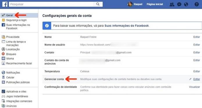 Opção de gerenciamento de conta do Facebook no menu geral de configurações (Foto: Reprodução/Raquel Freire)