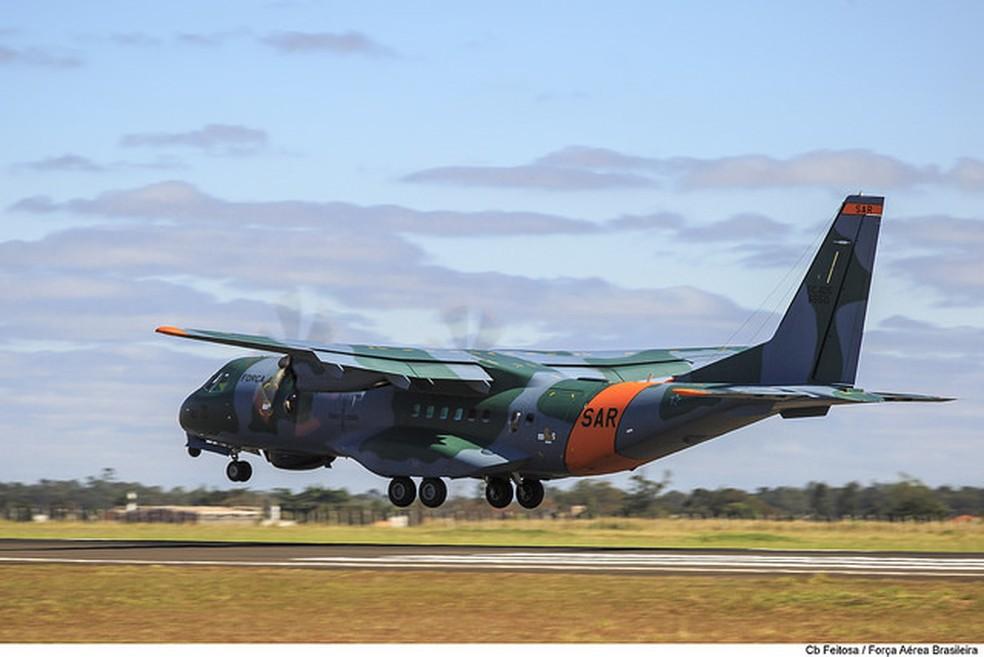 Aeronave da FAB auxiliou nas buscas no Pantanal, em Mato Grosso — Foto: FAB/Divulgação