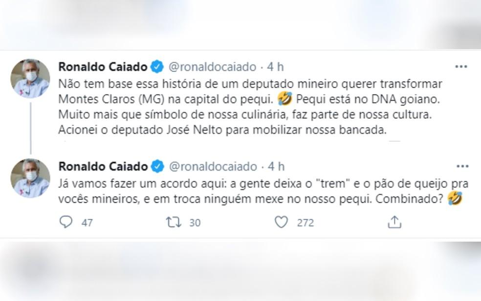 Ronaldo Caiado posta mensagem em rede social sobre o projeto do pequi — Foto: Reprodução/Twitter