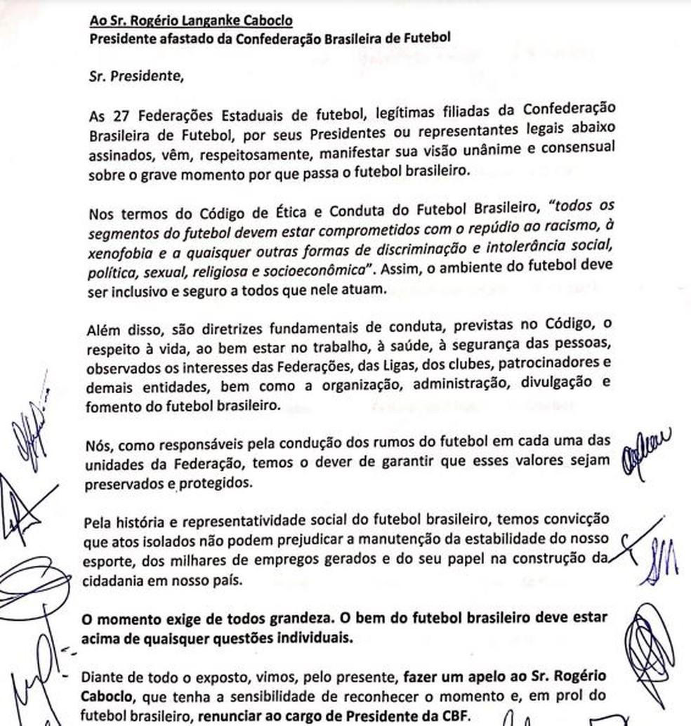 Carta em que presidentes federações estaduais pedem renúncia Rogério Caboclo — Foto: Reprodução