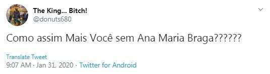 Internauta comenta ausência de Ana Maria Braga no 'Mais você' (Foto: Reprodução)