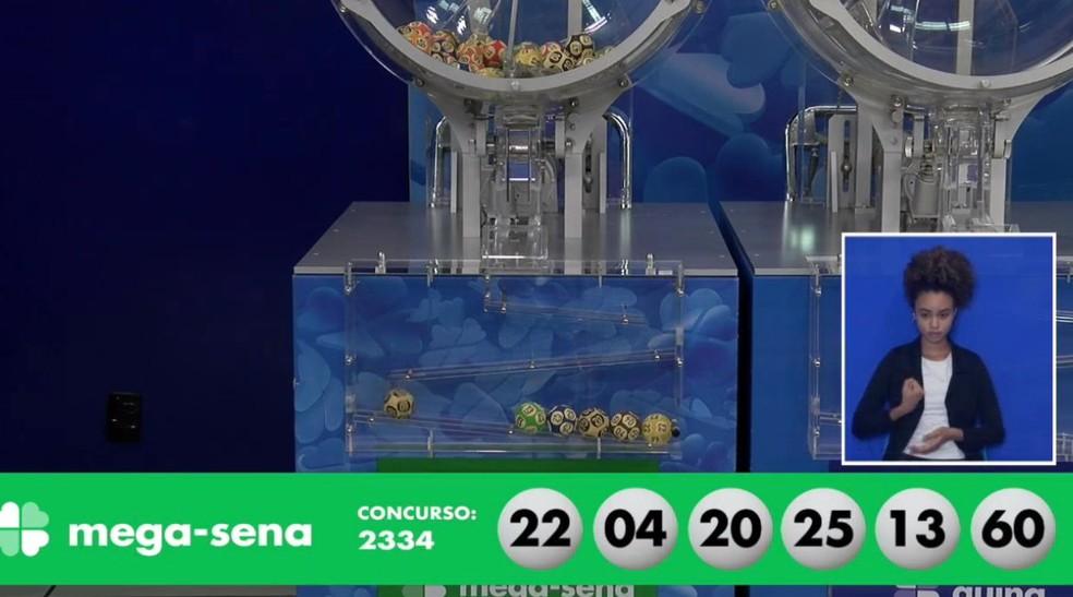 Números do concurso 2334 da Mega-Sena — Foto: Reprodução/Caixa