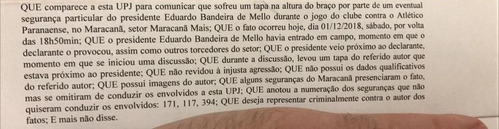Trecho do boletim de ocorrência do torcedor do Flamengo — Foto: Reprodução GloboEsporte.com