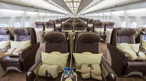 O A340 que transportou a Seleção só tem assentos de primeira classe (Foto: Divulgação)