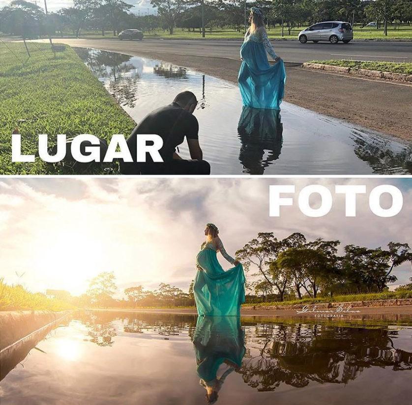 Aqui, a poça de água se transformou no diferencial da foto (Foto: Gilmar Silva)