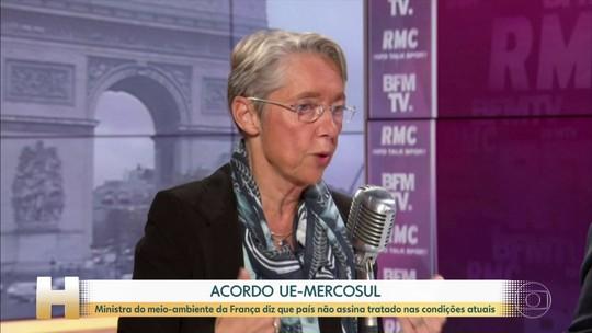 Ministra do meio-ambiente da França diz que país não vai assinar acordo UE-Mercosul