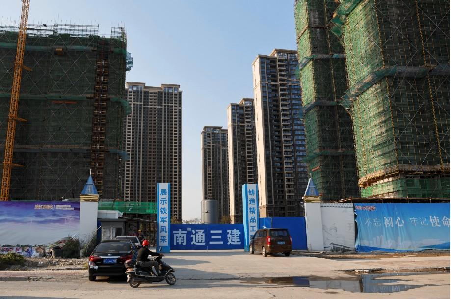 Edifícios em construção de um projeto da Evergrande, na província de Jiangsu, na China