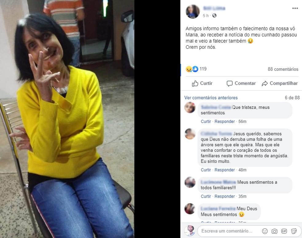 Maria Laura Cardelíquio passou mal e morreu ao saber da morte do neto, em Santa Bárbara d'Oeste — Foto: Reprodução/ Facebook